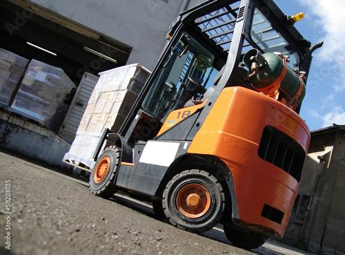 transport logistique - chariot élévateur Canvas Print