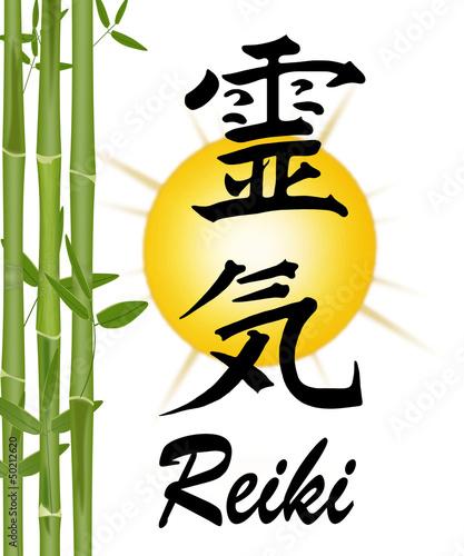Photo  Reiki-Symbol mit Bambus und Sonne