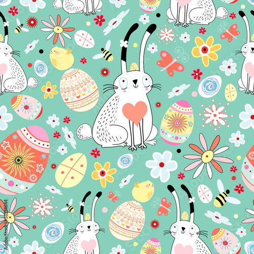 Cotton fabric floral texture Easter bunnies and chicks
