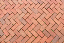 Red Brick Paving Stones On A Sidewalk