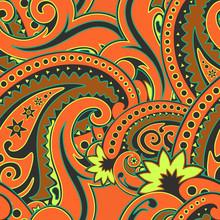 Paisley Orange Seamless Illustration