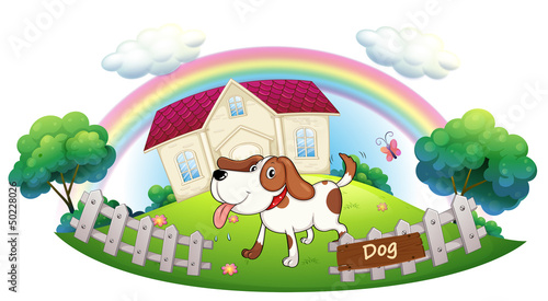 Stickers pour portes Chiens A dog guarding a house