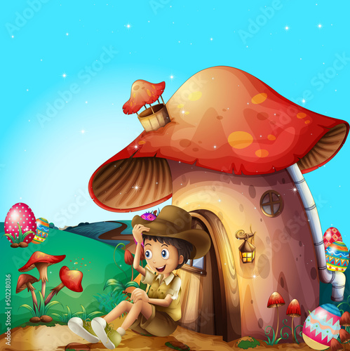 Poster Magic world A boy at his mushroom house