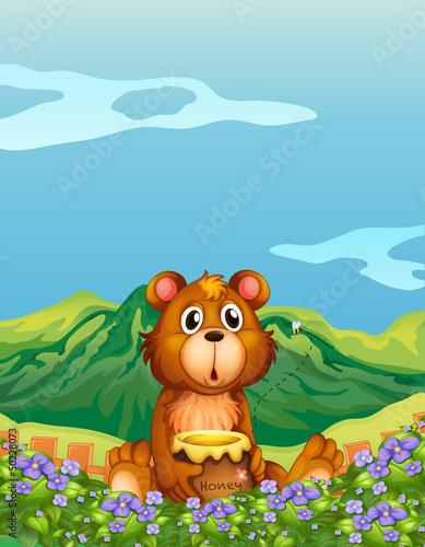 Wall Murals Bears A bear at the flower plantation