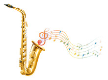 A Golden Saxophone With Musica...