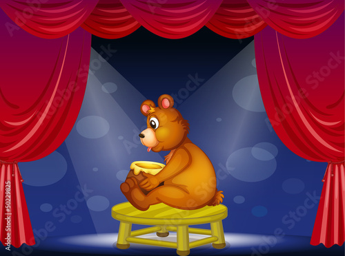 Wall Murals Bears A bear with a pot of honey sitting at the stage
