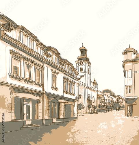 Foto auf AluDibond Gezeichnet Straßenkaffee Street in the old town.