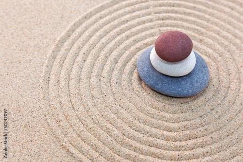 Foto op Canvas Zen Three pebble stack zen garden