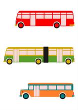 Stare Autobusy Na Białym Tle.