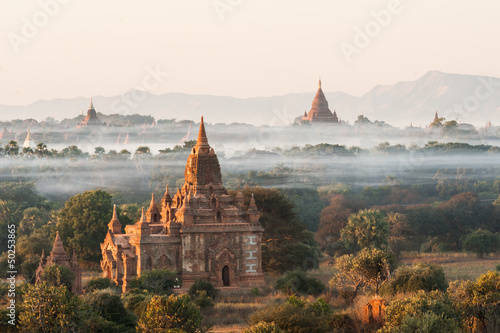 Sunrise at Bagan in Myanmar Wallpaper Mural
