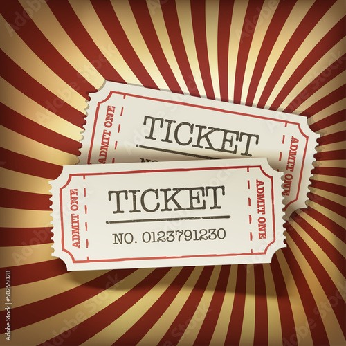 Affiche vintage Cinema tickets on retro rays background, vector.