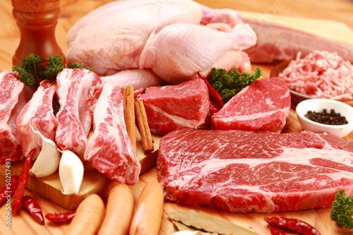 Staande foto Vlees assorted raw meats