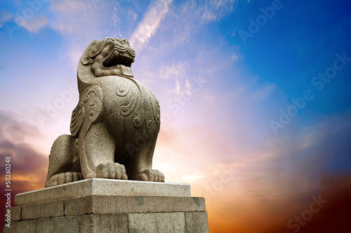 Photo  Traditional Chinese stone lion