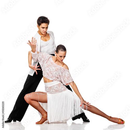Foto-Schmutzfangmatte - Sensual couple dancing salsa. Latino dancers in action. Isolated (von Andy-pix)