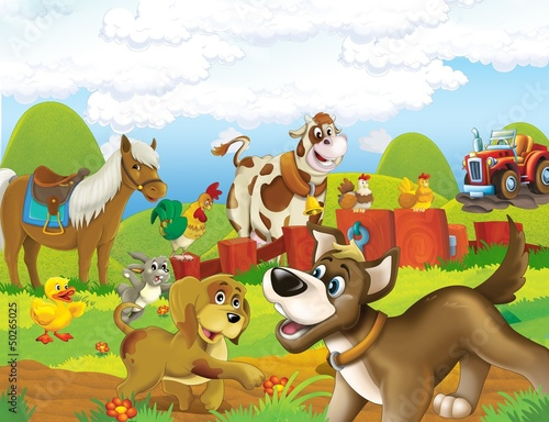 Photo Stands Kids The life on the farm - illustration for the children