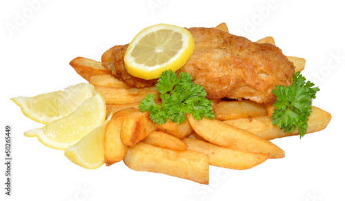 Photo sur Aluminium Poisson Fish And Chips With Lemon