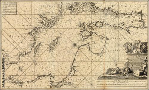 In de dag Retro Baltic Sea old map