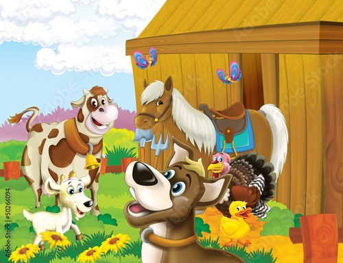 Fotobehang Boerderij The life on the farm - illustration for the children
