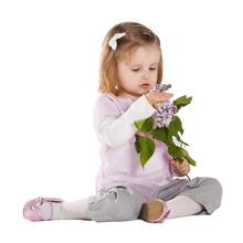 Little Girl With Liac Flower