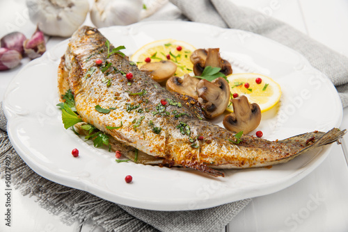 Roasted fish with lemon, mushrooms and herbs Wallpaper Mural