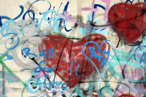 Poster Graffiti Graffiti an einer Wand