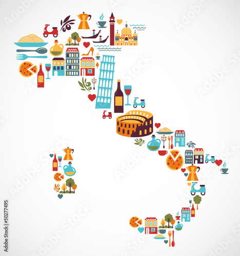 Fotografiet  Italy map with vector icons