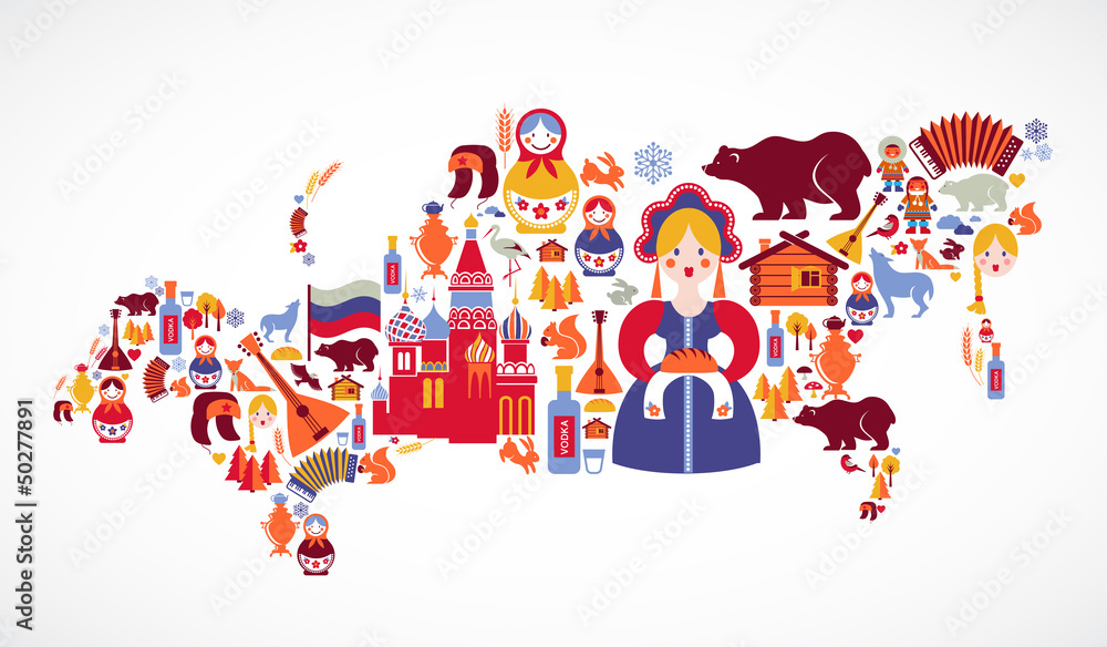 Fototapety, obrazy: Russia map with vector icons