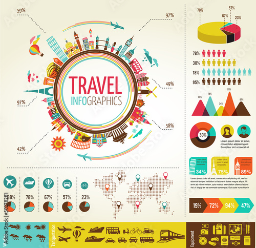 Photo  Travel and tourism infographics with data icons, elements