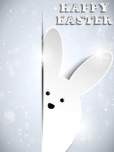 Happy Easter Silver Rabbit Shiny Metal