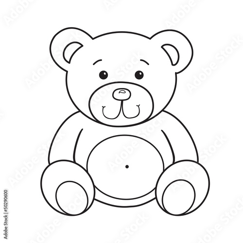 Outlined bear toy vector illustration. Isolated on white. #50290600