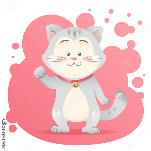 Cute cartoon cat toy vector card