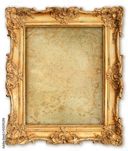 Photo  old golden frame with empty grunge canvas