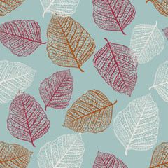 Fototapeta Liście Vector Seamless Pattern of Colored Leaves