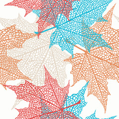 Fototapeta Liście Vector Seamless Pattern of Colored Maple Leaves