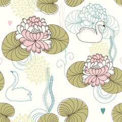 Naklejka Florystyczny Vector Seamless Pattern of Water Lilies and Swans