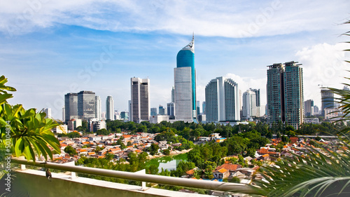 Montage in der Fensternische Indonesien Panoramic cityscape of Indonesia capital city Jakarta