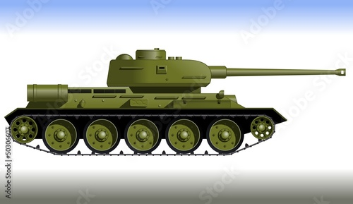 Deurstickers Militair Track tank from the Second World War. Fighting vehicle.