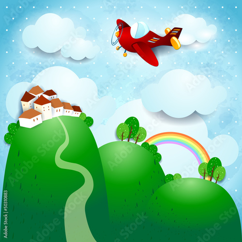 Poster Vliegtuigen, ballon Fantasy landscape with airplane
