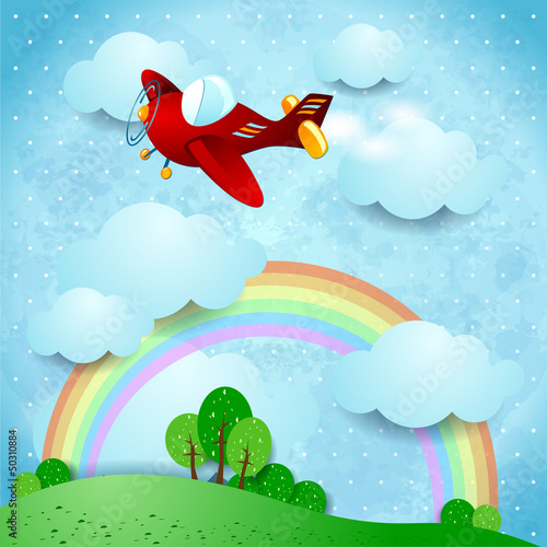 Garden Poster Airplanes, balloon Red airplane