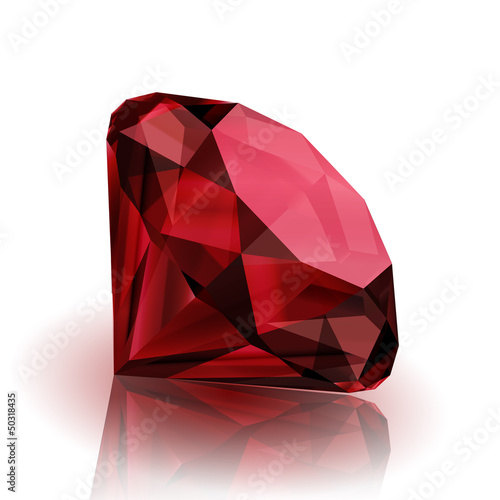 Fotomural  Realistic ruby on white background