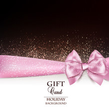 Gorgeous Holiday Background With Pink Bow And Copy Space. Vector