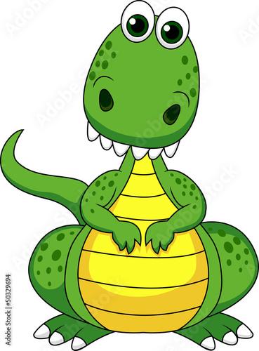 Keuken foto achterwand Dinosaurs Cute green dinosaur cartoon