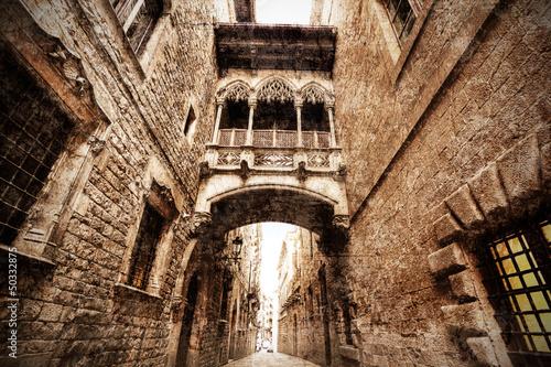 neogothic bridge at Carrer del Bisbe. Spain. Barcelona. #50332875