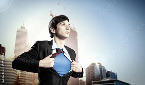 Young superhero businessman Canvas Print