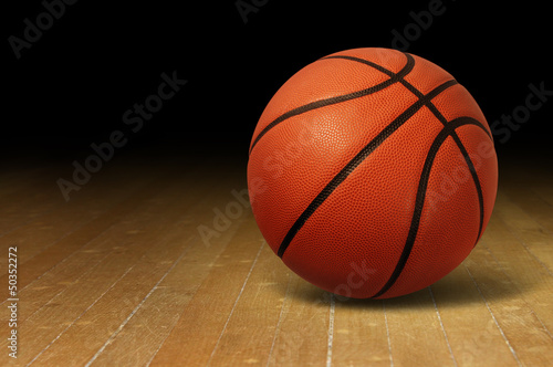 Canvastavla  Basketball On Wood Court