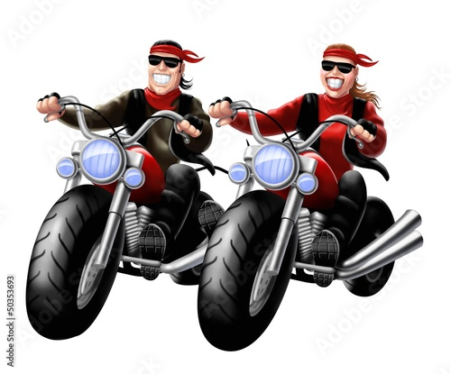 Poster Motocyclette bikers