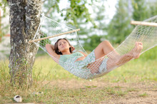 Young Woman On Hammock