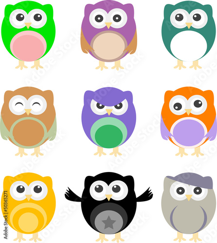 Canvas Prints Owls cartoon illustration of colorful cartoon owls set
