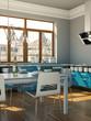 moderne Wohnküche graublau