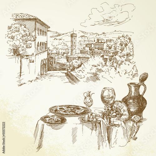 Obraz w ramie Tuscany, wine - hand drawn collection